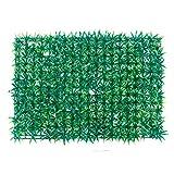 Ssowun Pared de césped Artificial Planta con Flores follaje Hermoso Decorativo Plantas de Pared (60 * 40cm)