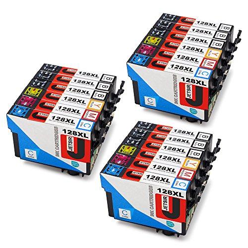 JETSIR Compatible Cartouches d'encre Replacement pour Epson T1281 T1282 T1283 T1284, Grande capacité Compatible avec Epson Stylus S22 SX125 SX130 SX230 SX235W SX420W SX425W SX430W SX435W SX440W SX445W BX305FW BX305F Imprimante (9 Noir, 3 Cyan, 3 Magenta, 3 Jaune)