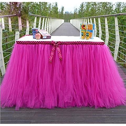 G&M Handmade Deluxe elegante Tulle Gonna di tabella per la decorazione del partito, eventi, riunioni, compleanni, nozze tovaglie (80cm * 91,5 cm)