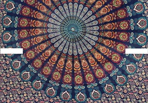 THE ART BOX Orange und Blau Mandala Indischen Bettbezug Bettwäsche Tagesdecke 3 Stück Baumwolle Bettbezug Set Queen Size 85x90 Zoll (Stück 3 Queen-size-schlafzimmer-set)