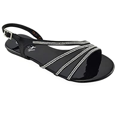 bf45d1be49c2 WOMENS FLAT DIAMANTE STRAPPY SANDALS LADIES SPARKLY BRIDAL PROM PARTY SHOES  SIZE  Amazon.co.uk  Shoes   Bags