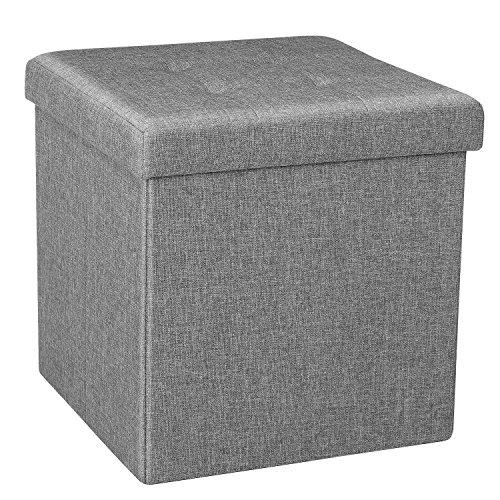 Bonlife ottoman - contenitore salvaspazio a forma di cubo, per seduta e riposo, 38 x 38 x 37,5 cm, colore: grigio