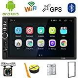 Android 2 Din Car Stereo GPS Navigation,7 inch Car Multimedia MP5 Player USB SD AUX Input,Car Audio Bluetooth,FM Radio,WiFi,Mirror Link,Rear View Camera,Support Steering Wheel Control