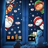 UMIPUBO Uclipo - Pegatina para Puerta de Navidad, diseño de Papá Noel, muñeco de Nieve, Alce y niños, PVC, Navidad, 2 x 30cm