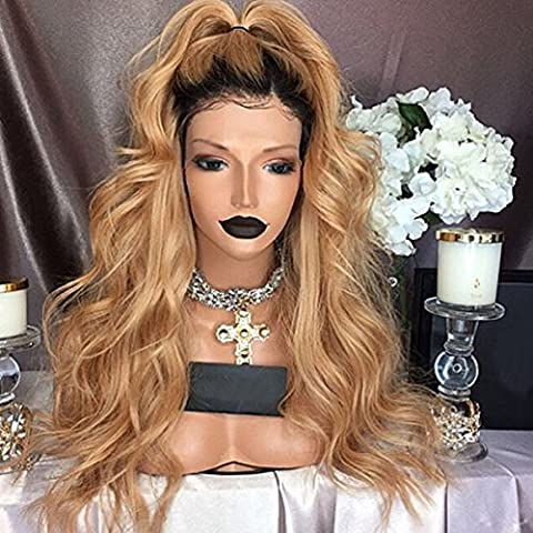 Maycaur 10%Human Hair+90%Heat Resistant Fiber Wig Black Blonde Ombre Color Synthetic Lace Front Wig Body Wave For Women 24-26 Inch