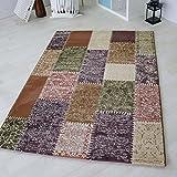 Kurzflor Teppich in Türkis, Rot und Bunt Groß mit Vintage Patchwork Design, hochwertige Webung geeignet für Wohnzimmer und andere Räumlichkeiten. Öko-Tex Zertifiziert [Maya] (120 x 170 cm, Bunt)