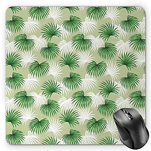 Preisvergleich Produktbild HYYCLS Leaf Mauspads,  Tropical Leaf of Palm Tree Livistona Rotundifolia Island Jungle Foliage,  Standard Size Rectangle Non-Slip Rubber Mousepad,  Green Pale Green White