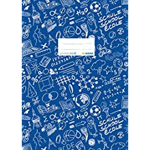 HERMA Exercise Book Cover A4 SCHOOLYDOO design, with inscription label, made of wipeable and sturdy plastic, slip on cover jackets for school, blue