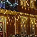MOVEONSTEP Esterno Stringa Luci 400 Led Luce Ghiacciolo Corda Leggera 8 modalità impermeabile Tenda Luminosa Catena Luminosa è adatta anche per party garden Natale Halloween(Bianco Caldo)
