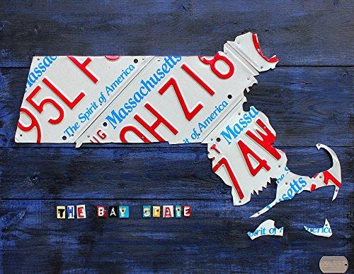 Design Turnpike – Massachusetts License Plate Map Kunstdruck (81,28 x 60,96 cm)