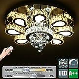 LED Kristall Deckenleuchte, Europäische 8-Flammig Deckenlampe, Dimmbar mit Fernbedienung, Runde, 230V, 3000K-6000K, Durchmesser: 80cm
