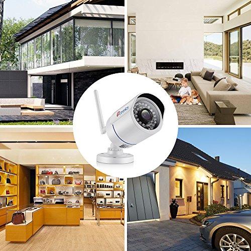 Ctronics Caméra de Surveillance IP sans Fil, Caméra de Sécurité WIFI HD 720P, Visibilité Nocturne à 30m, Alerte de détection de Mouvement, Etanchéité IP66, Installation Intérieure et Extérieure