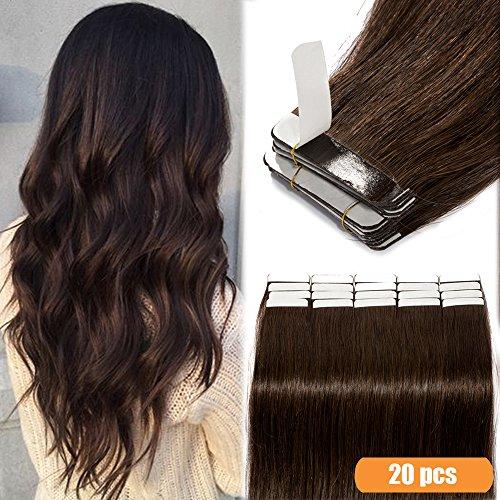 40-55cm extension capelli veri biadesivo estensioni adesive 20pcs remy human hair - tape in extensions allungamento lisci(40cm-50g #2 marrone scuro)
