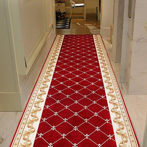 TONG YUE SHOP Couloir couloir européen recouvert d'un tapis rouge antidérapant (Couleur : Vin rouge, taille : 140 * 100cm)