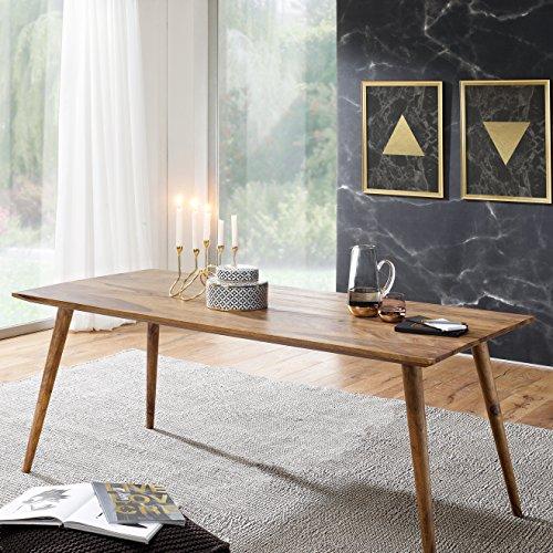 Acht-personen-esstisch (FineBuy Esszimmertisch 180 x 80 x 76 cm Sheesham rustikal Massiv-Holz | Design Landhaus Esstisch | Tisch für Esszimmer groß | 6 - 8 Personen)