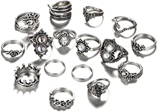 BIMAGE Vintage Style Silver Alloy Mid Midi Above Stack Knuckle Stacking Ring for Men and Women - 16 Pieces