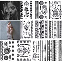 10 Sheets Black Henna Temporary Tattoo Stickers Lace Body Art Sticker Waterproof Arms Shoulders Chest (14.8x21cm)