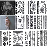 10 Sheets Black Henna Temporary Tattoo Stickers Lace Body Art Sticker Waterproof Arms Shoulders Chest (14.8x21