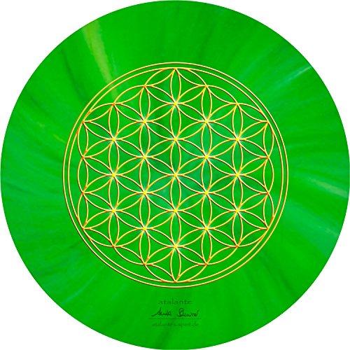 atalantes spirit - Blume des Lebens-Mauspad grün - Ø 19 cm, rund - Energie-Untersetzer Herzchakra - MousePad-Unterseite: Moosgummi, schwarz
