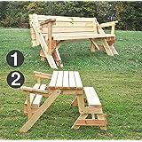 Mesa plegable para jardín convertible en banco (de madera maciza, convertible, todo en uno)