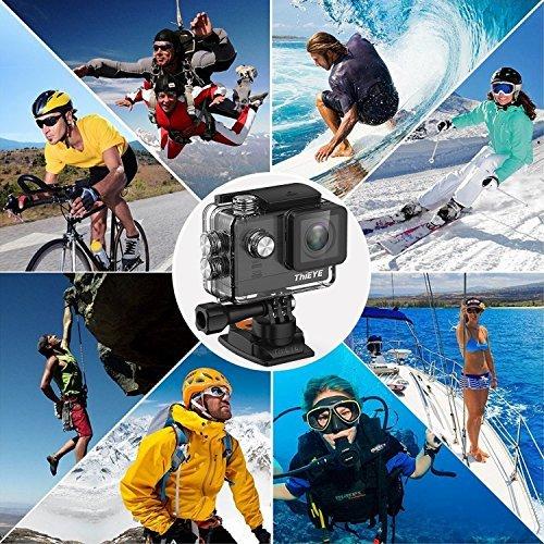 """Thieye T5e 4K Action Kamera WIFI Sport Action Cam 16MP Foto Ultra HD 2,0""""LCD Display 170° Weitwinkel 60m Wasserdicht 360 Grad drehbare Buckle Helmkamera Wasserdicht für Motorrad Fahrrad Reiten und Zubehör Kits mit 2 Verbesserten Batterien - 3"""