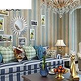 AIWQTO Kinder Zimmer Cartoon British Wind Streifen tapete Moderne Minimalistische mediterranes Wohnzimmer Schlafzimmer Längsstreifen wandtattoo- 21*118inch
