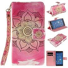 Qiaogle Teléfono Case - Funda de PU Cuero Billetera Clamshell Carcasa Cover para Sony Xperia Z3 (5.3 Pulgadas) - TX40 / Rojo Mandala