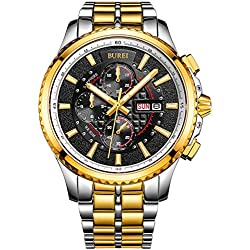 BUREI® Men's Luminous Chronograph Day and Date Watch with Two-tone Bracelet,Gold Bezel Black Dial