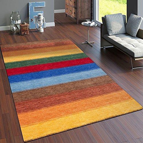 Paco home tappeto tessuto a mano gabbeh pregiato 100% lana mélange fasce colorato, dimensione:80x150 cm