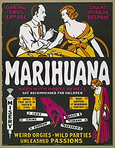 Marihuana, Weed With Roots In Hell, Harley Wood & Hugh Mcarthur, 1936- affiche de réimpression 28x36 pouces - sans cadre