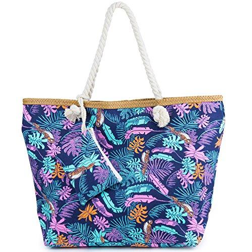 Sac de Plage Vacances Fourre-Tout Grand Avec Zip, ZWOOS Pochette sac à Main Sac de Shopping Pour Femme et Filles (Jungle)