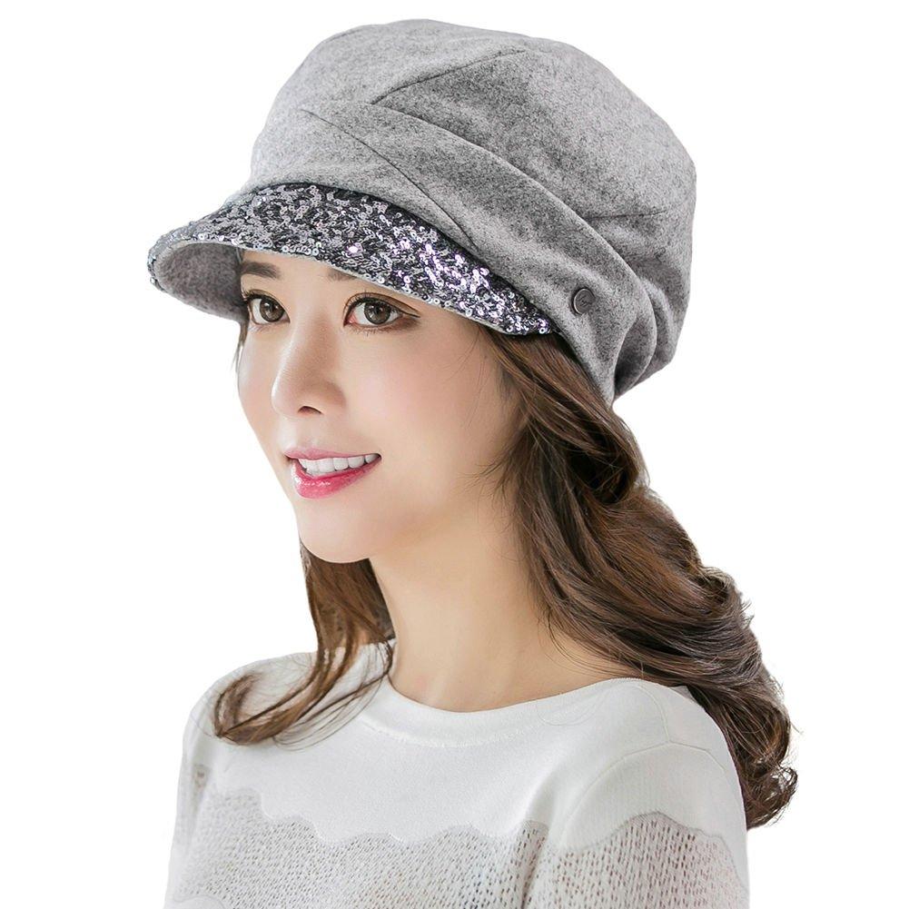 SIGGI Wool Knit Visor Beanie Newsboy Cap Baker Boy Hat Visor Beret ... f07e90cebb4