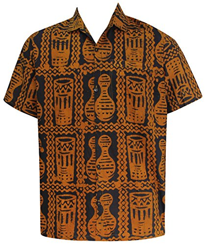 La-Leela-Shirt-Camisa-Hawaiana-Hombre-XS-5XL-Manga-Corta-Delante-de-Bolsillo-Impresin-Hawaiana-Casual-Regular-Fit-Camisa-de-Hawaii-Amarillo-BA672-S