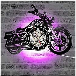 ZhangXF Moto Forme Vinyle Record Horloge Murale, LED lumière de Nuit Lumière 12 Pouces Vinyle Record Clock Cadeau Décoration