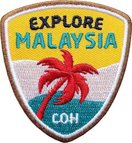 Club of Heroes 2 x Malaysia Entdecker Abzeichen 55 x 60 mm gestickt/Explore Malaysia Aufnäher Aufbügler Sticker Bügel-Patch Patches für Kleidung Rucksack/Reiseführer Abenteuer Flagge Fahne Land