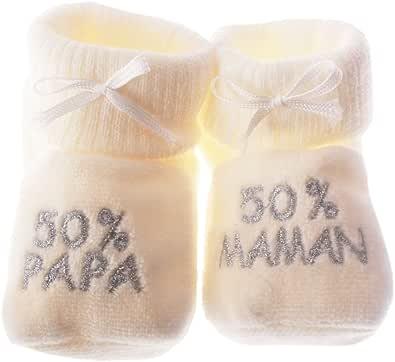 "Happy Baby - Pantofoline con scritta ricamata ""50% Papa 50% Maman"", 0/3 mesi"