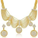 #5: YouBella Gold Plated Necklace Jewellery set with Earrings For Girls/Women