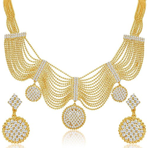 YouBella Gold Plated Necklace Jewellery set with Earrings For Girls/Women