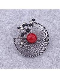 Y-XM 3   Retro Broches de Bisuteria por Mujer Aleación Hueco Flor Broche  Incrustado con Gema roja Cuerpo por Fiesta de Baile Ropa… ddd98cb3bd9
