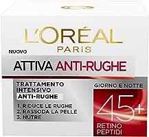 L'Oréal Paris Attiva Antirughe 45+ Crema Viso Donna Antirughe Intensiva Giorno e Notte con Retino Peptidi, 50 ml