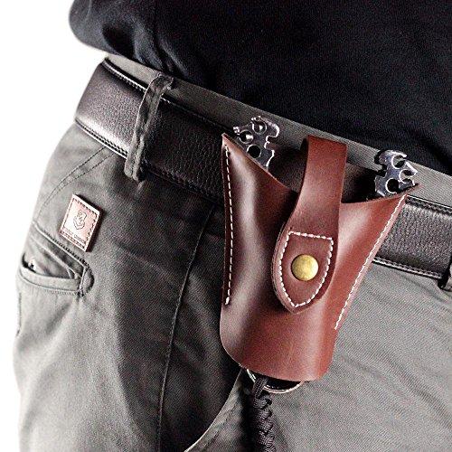 Hochwertiger Geninue Jagd Katapult Slingshot aus Leder Tasche Cool Snap Design Unterseite offen, damen Herren, braun