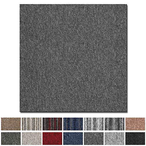Teppichfliesen Vienna selbstliegend | Rücken: Bitumen, rutschhemmend | Strapazierfähig | Bodenbelag für Büro und Gewerbe | 50x50 cm | Viele Farben (Grau)