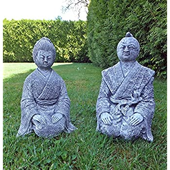 Steinfigur Geisha und Samurai im Set BUDDHAFrostfrei Steinguss Gartenfigur