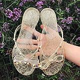 Qsy shoe Code Europa und Amerika Niet Flip Flops kaufen Sandalen und Hausschuhe Sommer weibliche Geleeschuhe, Rivet Flash Gold, 40