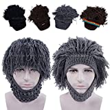 Wocharm Beard Wig Hats Handmade Knit Warm Winter Caps For Men Women Kid Black Grey Brown Barbarian Looter Crochet Beanie Cap