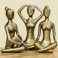 Mujer figuras en el juego de 3Yoga Esculturas en cobre de resina, 3mujeres Yoga figuras Estatua a un precio