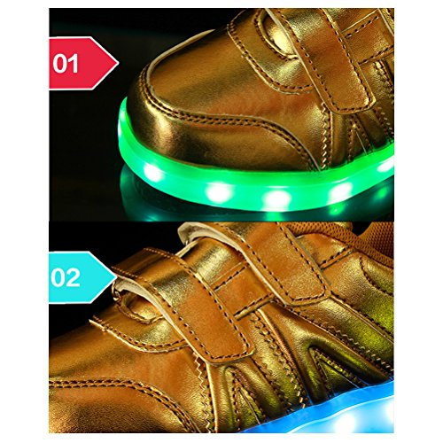 Zhhlinyuan Prämie Quality Children Creative USB Charging Shoes LED lights Neutral High-Help Movement Shoes 7 Colors White
