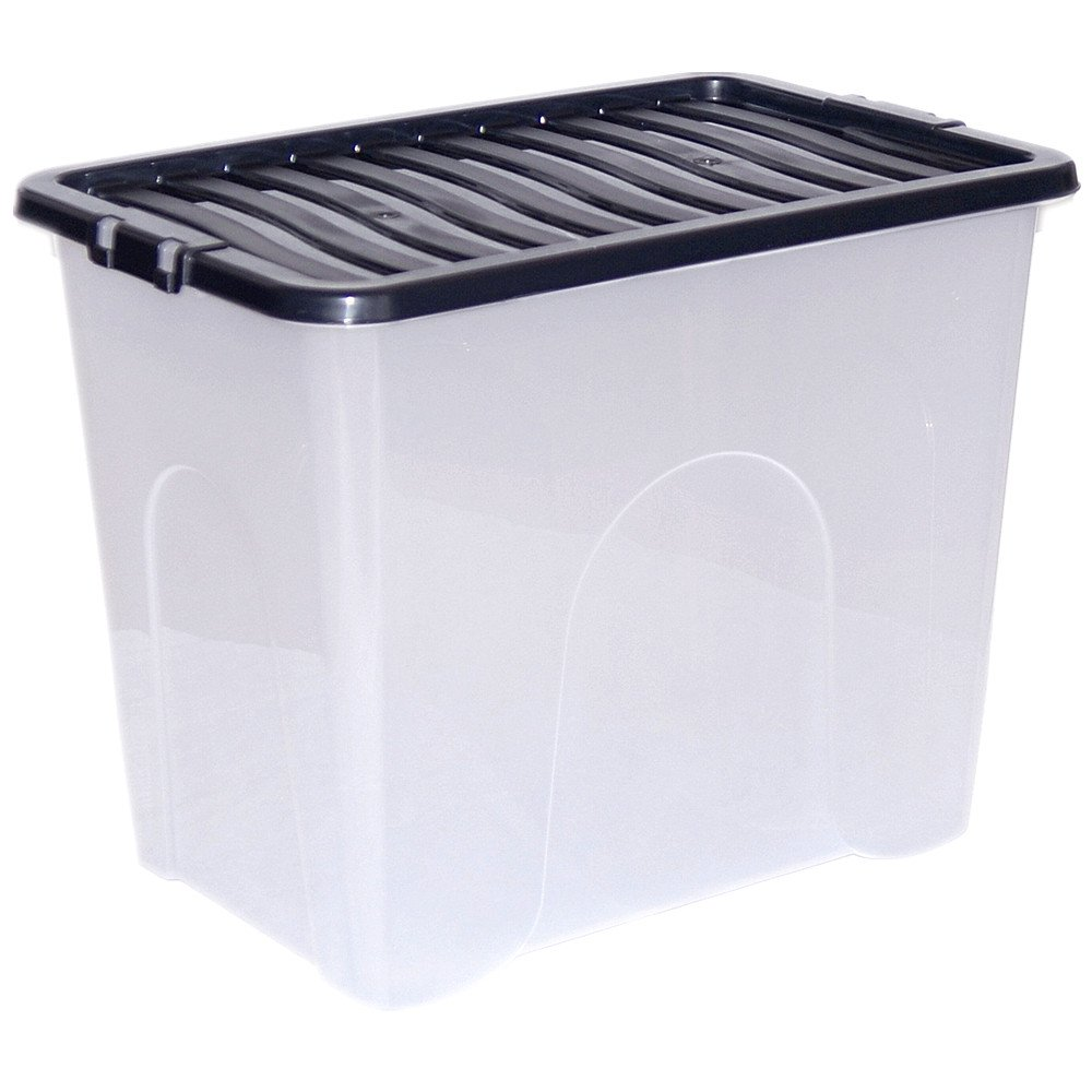 plastic storage boxes chest under bed lid drawer organiser container case x5 amazoncouk kitchen u0026 home