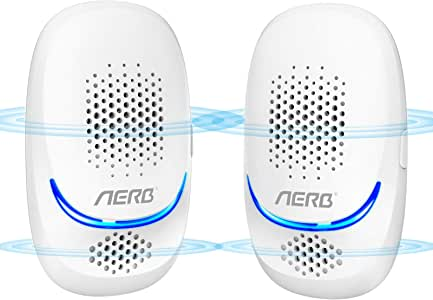 [NEW] Aerb Ultrasonic Pest Repeller Portable 10W Plug in Ultrasonic Mosquito Kit 100% Safe for Humans and Animals for Mice, Fleas, Mosquitoes, Rodents, Cockroaches, Ants, Spiders, Pack of 2