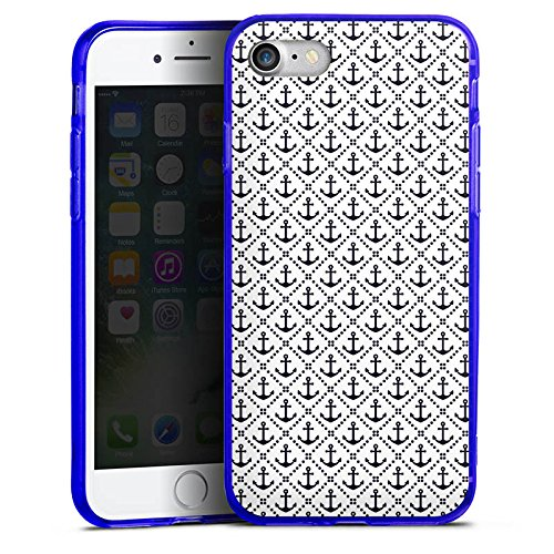 Apple iPhone 8 Silikon Hülle Case Schutzhülle Anker Anchor Muster Silikon Colour Case blau